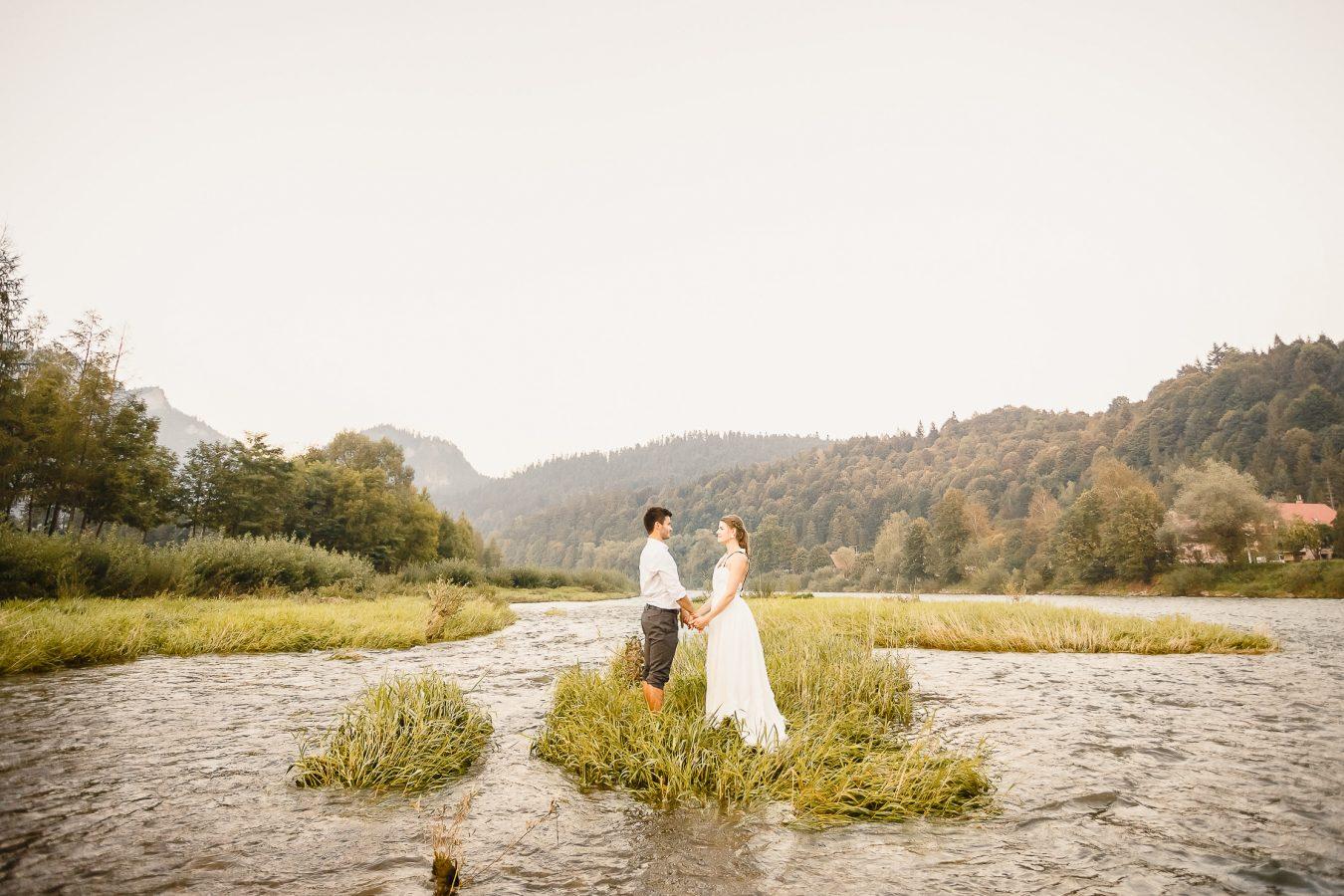 Destination wedding portrait of bride and groom in Pieniny