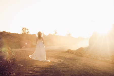 Bride at sunset Golden Hour