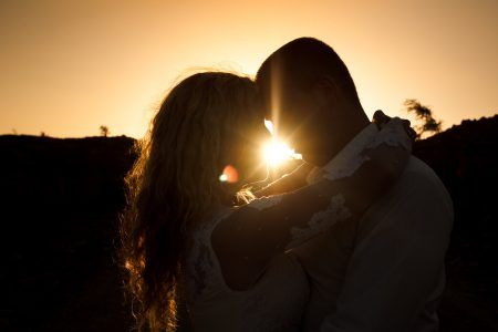 Bride and Groom at sunset Golden Hour