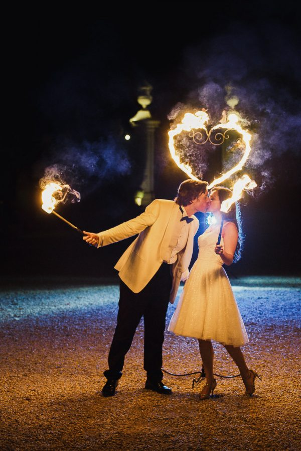 Groom and Bride at the end of fire show