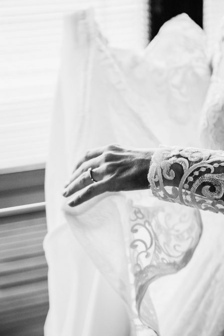 black and white photo wedding dress details