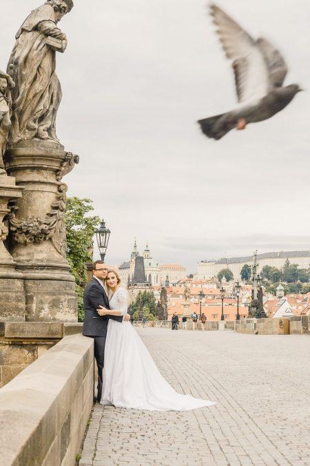 Wedding portrait at Charles Bridge in Prague