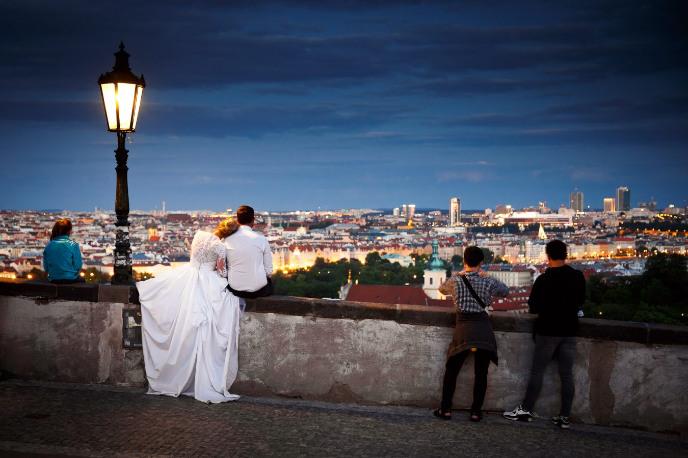 Beautiful wedding portrait in Prague at night