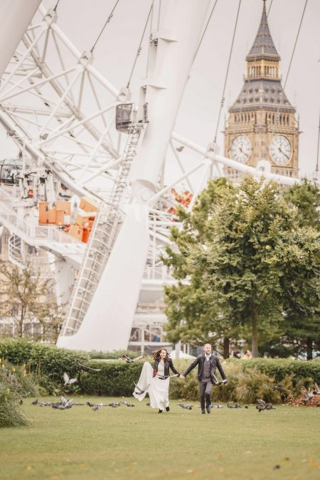 English destination wedding in london |london eye |big ben