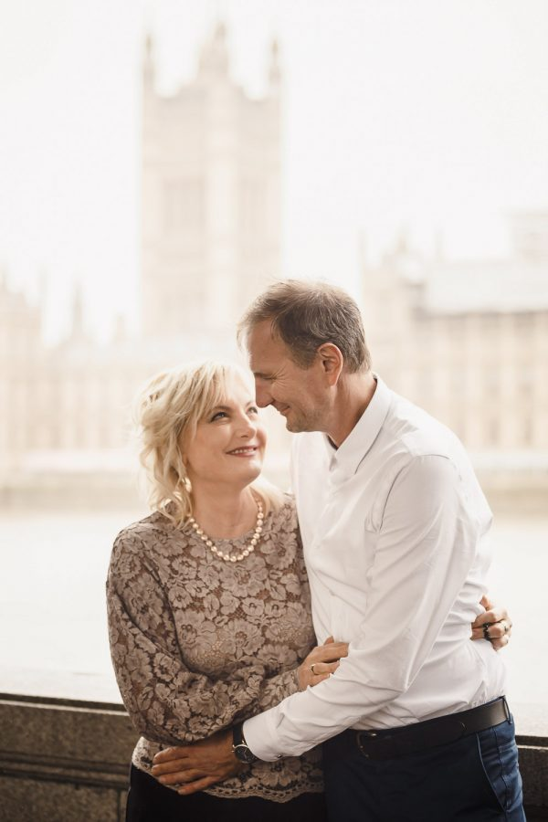 Parents of bride in front of Big Ben