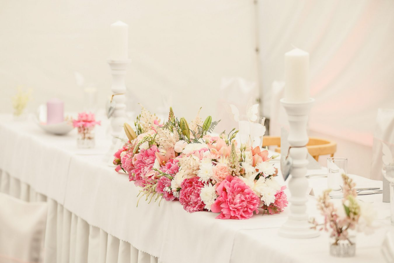 Wedding reception details with flowers