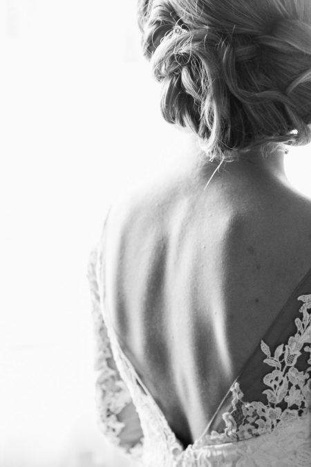 wedding dress details of the back