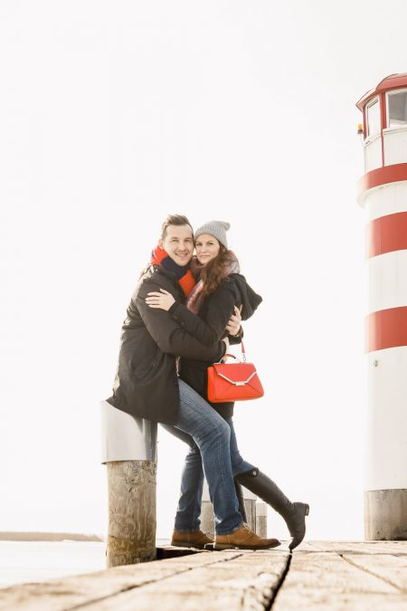 Romantic photoshoot on frozen lake in Podersdorf am See, Austria